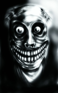 A grinning cannibal