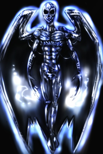 A Watcher, an alien angel some believe was active during the Great Darkness.
